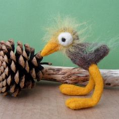 Fuzzy Bird Needle Felted Toy Figurine Miniature Soft by rokdarbi4u
