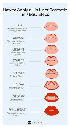 How to apply Lip Liner in 7 steps. #lipliner #lipstick #makeup #guide #easy #steps #lips #longlasting #stay #urbanclap #PerfectEyeliner