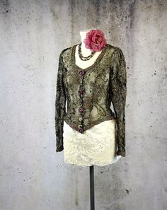 Gorgeous Vintage Boho Renaissance-Inspired Beaded Lace Top from LaineeLee on Etsy