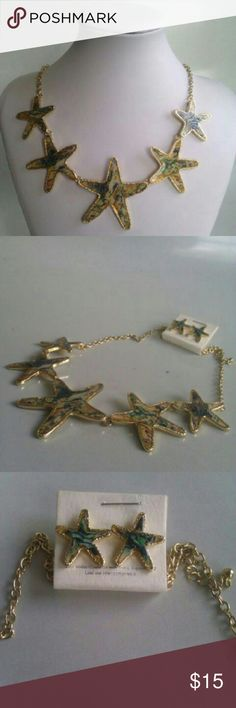 """Starfish """"Shell"""" Necklace Set Stunning starfish necklace with matching earrings. Has gold accent and a material creating the look of shells. Very unique and great to wear during the summer time. Amazing quality and is lightweight and adjustable. I am open to negotiations. :) Jewelry Necklaces"""
