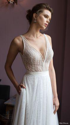 riki dalal bridal 2016 sleeveless v neck strap beaded bodice a line wedding dress (1809) zv romantic