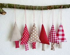 Fabric Christmas Ornaments tree decorations by FromJeanne on Etsy Sewn Christmas Ornaments, Fabric Christmas Trees, Fabric Ornaments, Christmas Sewing, Handmade Christmas, Christmas Diy, Fabric Christmas Decorations, Christmas Bunting, Xmas Trees