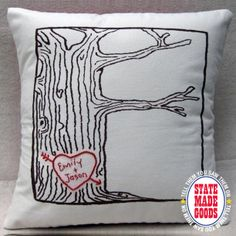 "Heart Tree Pillow by Cozy Blue, ASHEVILLE, N.C. - Hand-stitched in Asheville, is there any better way to feather your love nest?! Cute Kona cotton pillow is customized just for you and your beloved with your names or initials. Cozy Blue is run by husband n' wife crafters who spend their days ""screenprinting, stitching, sewing, and crafting the days away, and living the good life."" Sweet!  www.etsy.com/shop/cozyblue"