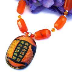 Orange Dichroic Pendant Carnelian Handmade Necklace Swarovski Jewelry | ShadowDogDesigns - Jewelry on ArtFire
