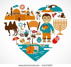 Israel - heart with a lot of vector icons and illustrations by Marish, via ShutterStock