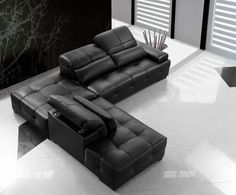 Advanced Adjustable Tufted Leather Corner Sectional Sofa with Pillows