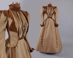 Victorian Belle Epoque 1890s Tweed and Velvet Visiting or Promenade ensemble