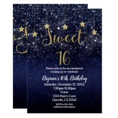 Black gold sweet 16 birthday invitation sweet sixteen invitation sweet 16 starry night gold blue sparkle sky party invitation birthday diy16th solutioingenieria Image collections
