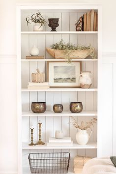 Neutral Shelf Styled for Fall Living Room Decor Fall Neutral Shelf Styled Fall Living Room, Cozy Living Rooms, Living Room Shelf Decor, Bedroom Decor, Bookcase In Living Room, Living Room Decor Simple, Neutral Living Rooms, Living Room Units, Built In Shelves Living Room