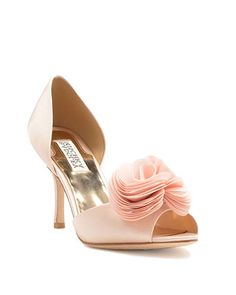 Thora Silk Ruffle Bridal Pump pink heels / shoes from Badgley Mischka for the bride to wear on her wedding day