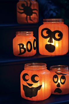 Create a quirky patch of pumpkins using round glass holders and tissue paper