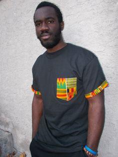 African Print Pocket Tee Kente Pocket T Shirt by Shipella