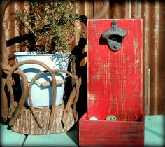 Beer Bottle Opener and Cap Catcher by TheHenryHouse on Etsy, $25.00
