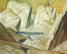 Morning on the Key River; Rock Cluster, Madawaska River, by Alfred Joseph Casson at Cowley Abbott Group Of Seven Art, Group Of Seven Paintings, Emily Carr, Canadian Painters, Canadian Artists, Jackson, Ontario, Tom Thomson Paintings, Art Environnemental