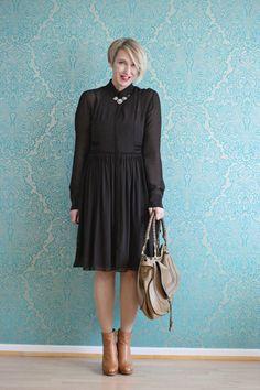 A fashion blog for women over 40 and mature women http://www.glamupyourlifestyle.com/  Dress: Dorothee Schumacher Booties: Alberto Fermani Bag: Chloé Marcie
