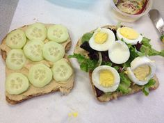 Ezekiel bread with hummus, cucumbers, mixed greens, and a hard boiled egg. Very tasty and very healthy! Clean Eating Recipes, Healthy Dinner Recipes, Healthy Snacks, Healthy Eating, Eating Clean, Boiled Egg, Hard Boiled, Peanut Butter Energy Bites, Ezekiel Bread