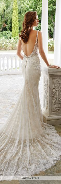 Sophia Tolli Fall 2016 Wedding Gown Collection - Style No. Y21660 Verona - sleeveless lace sheath wedding dress with plunging low back