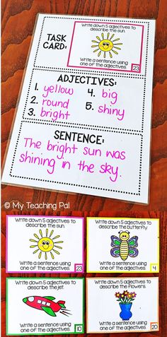 Kindergarten Writing Lesson Plans Luxury Adjective Task Cards Brainstorming and Sentence Writing Talk 4 Writing, Sentence Writing, Writing Lessons, Writing Workshop, Writing Skills, Narrative Writing, Informational Writing, Writing Process, Writing Ideas