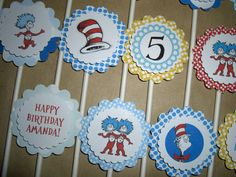 Dr. Seuss cupcake signs toppers