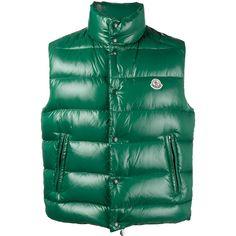 Moncler Puffer patent gilet (€485) ❤ liked on Polyvore featuring men's fashion, men's clothing, men's outerwear, men's vests, green, mens gilet vest, mens puffy vest, mens green vest, mens puff vest and mens puffer vest