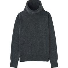 Women's Cashmere Turtleneck Sweater, DARK GRAY