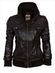 L2L Women's Leather Bomber Jacket with a Deep Knitted Collar £74.99