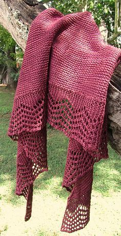 Norwood Shawl.  A quick and easy crescent shawl with a simple lace edging and garter stitch body.