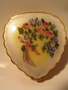 Vintage Yellow Guilloche Enamel Floral Design Compact.... from litchfieldantiques