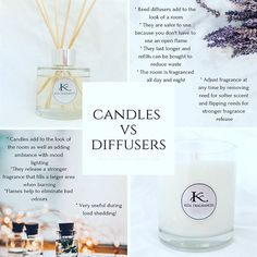 Not sure whether to buy a candle or a reed diffuser? Here are a few reasons why one might be better suited to your home. Still can't choose? Why not get both? #scentedcandle #reeddiffuser #candlevsdiffuser #diffuservscandle #kitafragrances