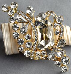 Rhinestone Brooch Embellishment Crystal Pearl Gold Wedding Brooch Bouquet Cake Invitation Decoration Hair Comb Shoe Clip BR278