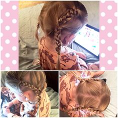By no means am I any kind of hair expert. I struggled with my two year olds hair forever. Her Daddy refused to give her bangs and I was constantly trying to keep her hair out of her face. I've youtubed so many videos of how to French braid... With no luck. I started doing the double braid and it seems to work for me. So wanted to share it with my fellow Momma's! All it is, is a regular braid... Braided into another braid! It stays in all day long and keeps her hair out of her face!