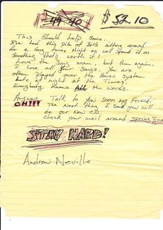 STAY HARD! A note, plus $52.10 CT$ from Andrew Neville of Andrew Neville & The Poor Choices, one of the artists who will be featured on the live double-album!