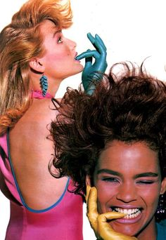 justseventeen: February Make everyday shimmer with style and color. Vintage Beauty, Vintage Fashion, Retro Fashion, 1980s Hair, 80s And 90s Fashion, 1987 Fashion, Makeup Ads, 80s Aesthetic, Seventeen Magazine