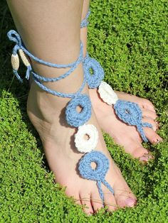 Beginner Barefoot Crochet Sandals | Want to save on your crocheting supplies? http://GoGetSave.com/ and watch how!