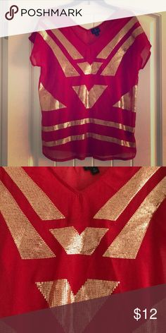 Cute red and gold top Red and gold top. No sequins missing! Worthington Tops Blouses