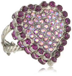 """Sweet Heart"" Shades of Pink Crystal Pave Heart Adjustable Ring #unusualengagementrings"