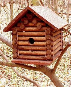 Antique Lincoln Log birdhouse.