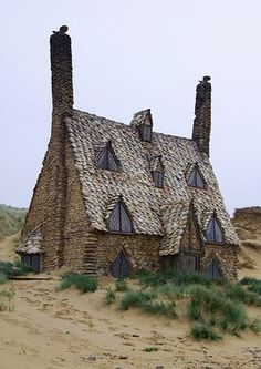 "Shell Cottage in Pembrokeshire, Wales, at Freshwater West Beach - photo from weedendnotes;  This was built as one of the sets for ""Harry Potter and the Deathly Hallows (Part 1)."" It was used for the home of Bill Weasley and Fleur Delacour and was protected by the Fidelius Charm."