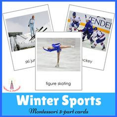 Winter Sports Montessori 3-part cardsThis set of Montessori 3-part cards show children different winter sports. It includes such sports as figure skating, speed skating, biathlon, ski jumping, bobsleigh, ice hockey, snowboarding, curling, ice climbing, skiing, luge, snocross, skeleton.The material consists of:- 14 picture name cards- 14 picture only cards- 14 name cardsThe file includes instruction with presentation for using the material.These cards are available in Russian upon request.