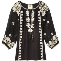 Figue Nikita Top ($595) ❤ liked on Polyvore featuring tops, blouses, embroidered blouse, black embroidered top, black top, black white blouse and embroidered top