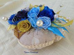 Puntaspilli decorativo, fiori di nastro, idea regalo creativo, by Silkribbonembroidery, 25,00 € su misshobby.com