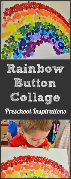Rainbow Button Collage Canvas Art by Preschool Inspirations