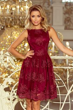 Embroidered Lace Skater Knee-Length Dress In Burgundy Skirt Fashion, Fashion Dresses, Robes D'occasion, Dress Silhouette, Embroidered Lace, Occasion Dresses, Flare Dress, Evening Dresses, Clothes For Women