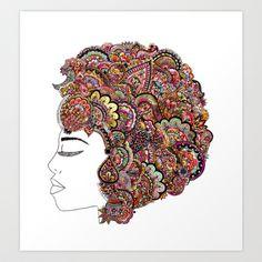 her hair - les fleur edition Art Print by Bianca Green - $18.00