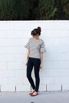 J.Crew Ruffle Top, French inspired Outfit, Red Flats, J.Crew Outfit, Fashion Blogger Outfit