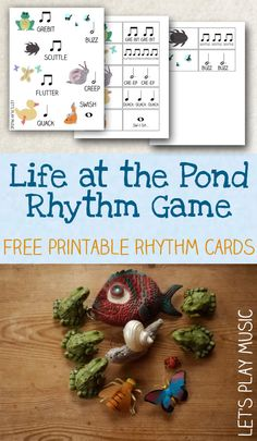 Free printable poster and rhythm cards to play a fun rhythm game all about pond life, with activity idea extensions for exploring movement and percussion Music Education Games, Music Activities, Music Games, Education Posters, Fun Music, Education Logo, Piano Music, Education Quotes, Music Stuff