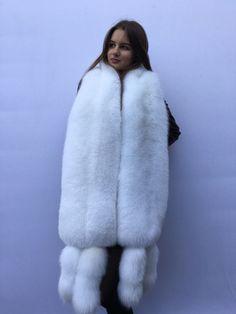 Extra Big Double-Sided Arctic Fox Fur Stole Four Tails as Wristbands White Fur Coat, Fox Fur Coat, Faux Fur Bedding, Fabulous Fox, Fur Headband, Fur Wrap, Fur Accessories, Arctic Fox, Fur Stole