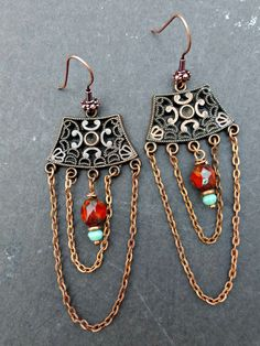 Czech glass and copper metal earrings. Chain, long dangle, red and copper.