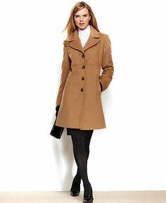 Larry Levine Wool-Blend Classic Walker Coat - Coats - Women - Macy's (...must resist the urge to gravitate toward black wool coats)