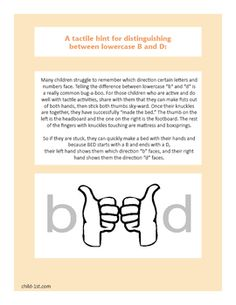 Many children struggle to remember which direction certain letters and numbers face. Telling the difference between lowercase b and d is a really common struggle children face. See how we suggest teaching these letters using hand motions and imagination.